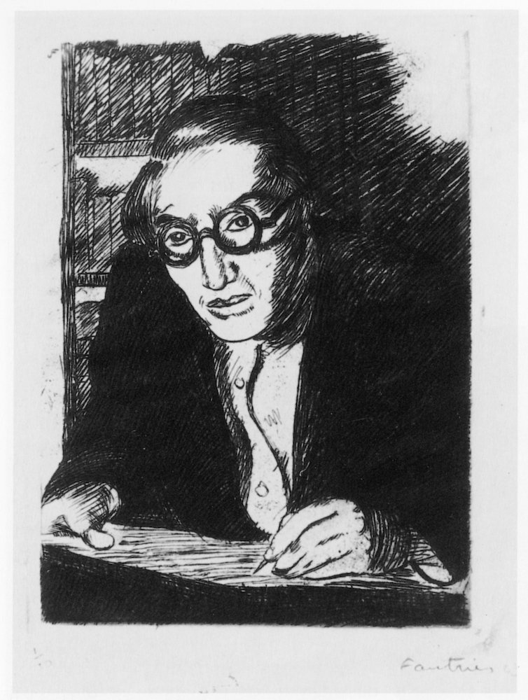 Jean Fautrier, Self-portrait, 1923. Etching. 12.5 x 9 cm. Emanuel von Baeyer Cabinet, London, 2019